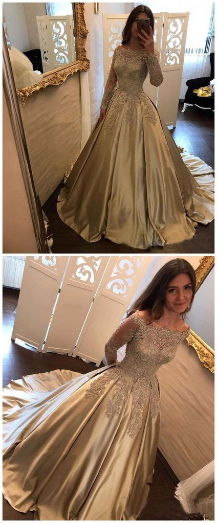 3d29b9b5 modest long sleeves gold lace appliques A-line prom dress, PD1455 #promdress  #fashion #shopping #dresses #eveningdresses #2018prom