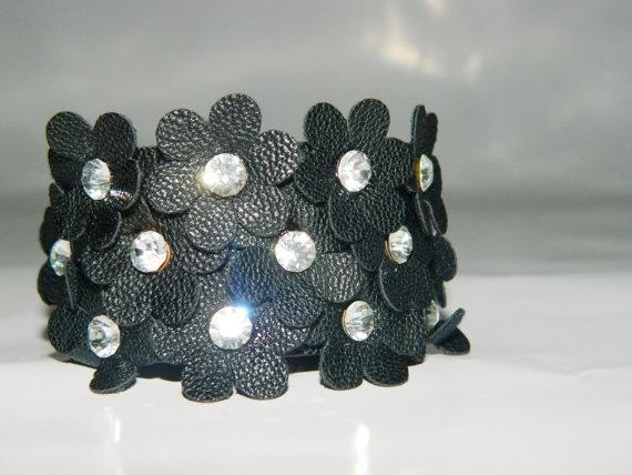 Black Flower Leather Bracelet Leather Cuff by JewelryForWoman, $15.00