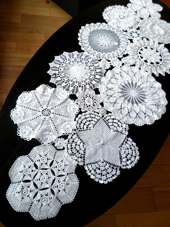 Custom Made Wedding Table Decoration With by WHITEStardust, $76.00 I LOOOVE doilies...BUT would this look ok made into a table cloth...???
