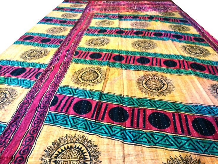 Reversible Kantha Quilt Vintage Bedspread Cotton Decorative Throw Gudri VIT 174 #Handmade #Traditional