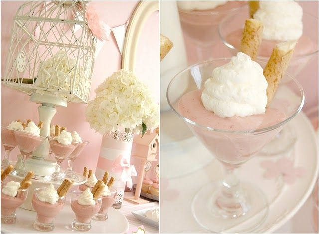 I like the idea of a dessert in a martini glass.... Dolllar store glasses.: Shower Ideas, Pink Birdie, Baby Girl, Bridal Shower, Party Ideas, Baby Showers, Baby Shower