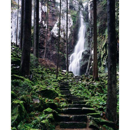 Burgbach Waterfall Bad Rippoldsau-Schapbach Black Forest Baden-Wurttemberg Germany Canvas Art - Panoramic Images (36 x 12)