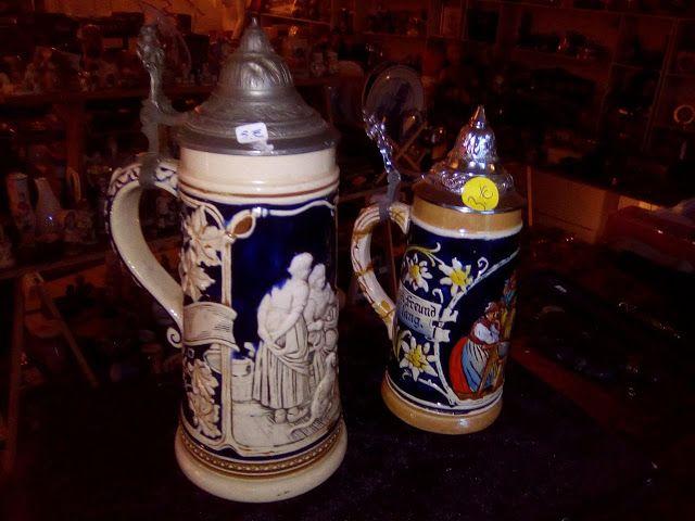 edison39.nl #Garageverkoop #Eindhoven #040 #Vintage #Antiek #Kunst #Design: aardewerk bierpullen met tinnen kap