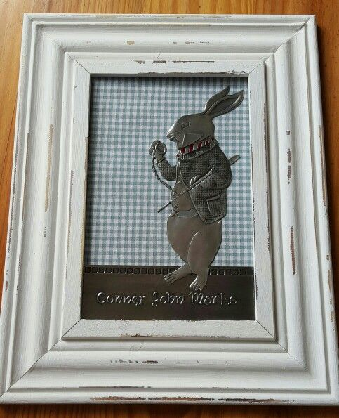 Rabbit on framed canvas and cut out done for a nursery by Gail at Pewter Boutique.