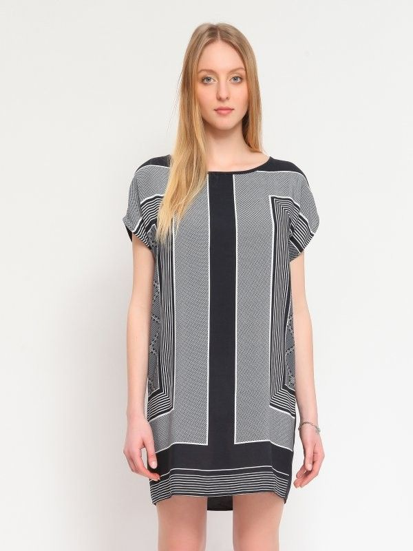 Rochie neagra eleganta cu imprimeu geometric alb