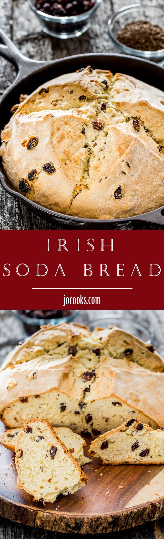 Skillet Irish Soda Bread - a rustic, and mildly sweet quick bread with raisins and caraway seeds that is easy and super quick to put together, then baked in a skillet.