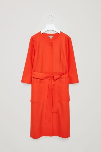 COS image 2 of Belted wool dress in Red
