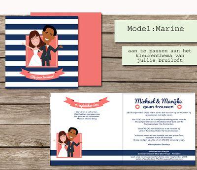 #custom #illustrated #wedding #invites #marine #theme #blue #pink #stripes #trouwkaarten op maat #maatwerk #cartoon #tekening van jezelf nagetekend op een trouwkaart #zonnebloem #zonnebloemen