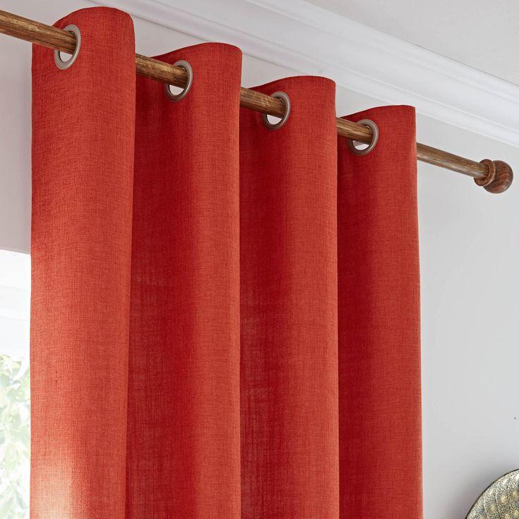 Vermont Orange Lined Eyelet Curtains | Dunelm