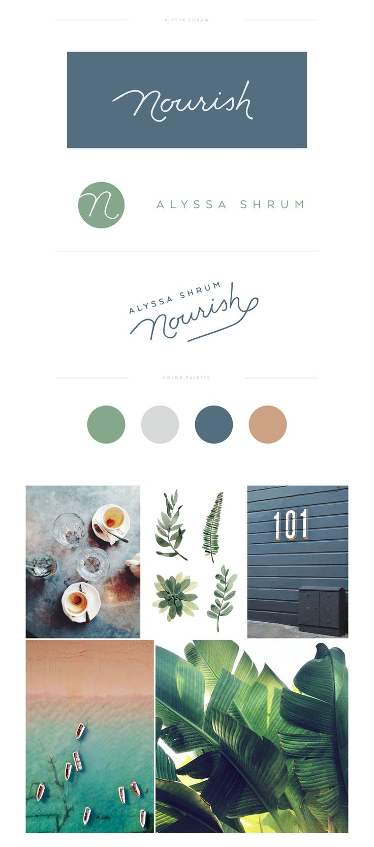 Lovely earthy colours green, blue and brown brand style guide.
