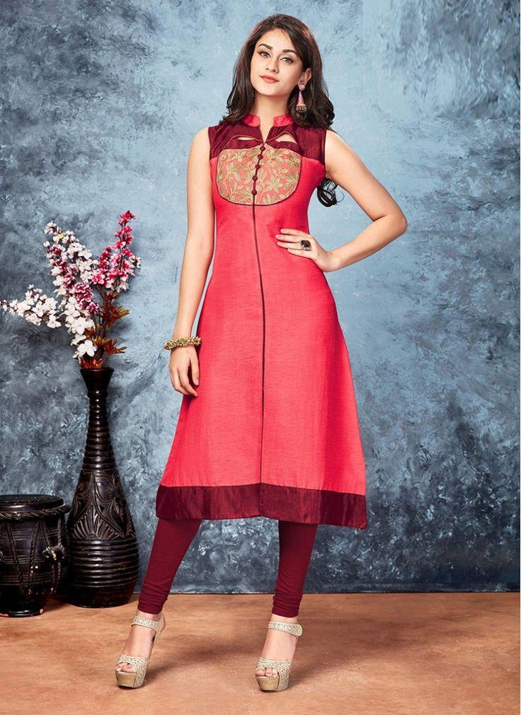 Topnotch Maroon and Pink Silk Decent Indian Salwar Kameez