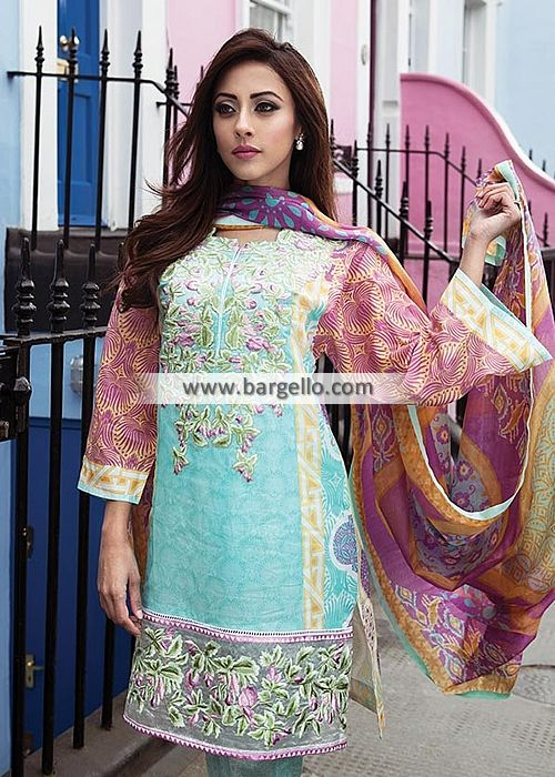 WL8297 Embroidered Lawn Suits Summer Season  Farah Talib Aziz Lawn Collection LSM 2015 - UK USA Canada Australia Saudi Arabia Bahrain Kuwait Norway Sweden New Zealand Austria Switzerland Germany Denmark France Ireland Mauritius and Netherlands