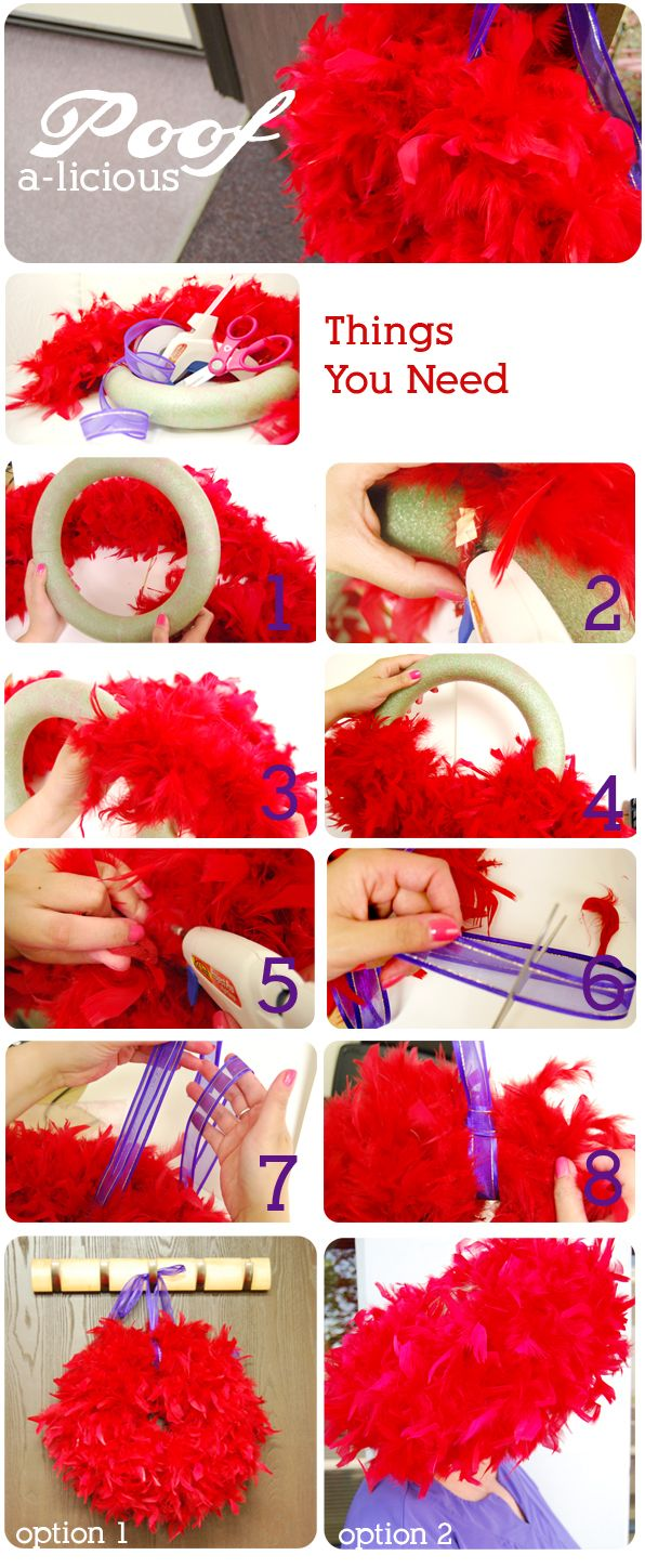 """The Red Hat Society: DIY """"Poof-a-licious"""" Boa Wreath"""