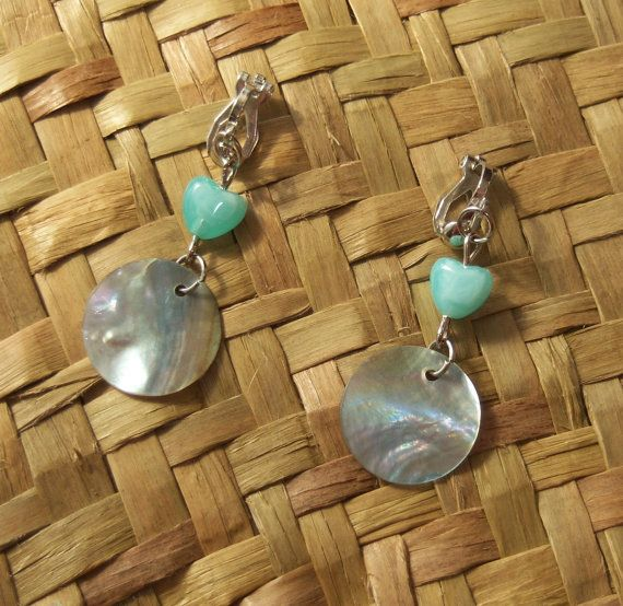 Iridescent Shell Disc Earrings with Heart. Clipon by OceanicBeads, $9.88