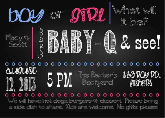 Chalkboard Style BabyQ Baby Gender Reveal Shower Invitation Printable