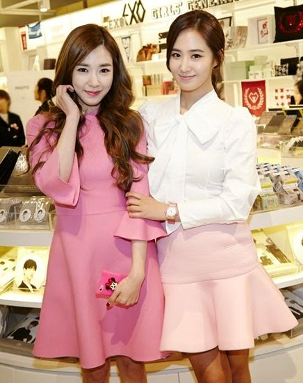 SNSD Tiffany pretty in pink. pre-opening event of SMTown Land at Coex Artium. Valentino A-line dress. Yuri - light pink dropped hem skirt, white button up with bow tie.