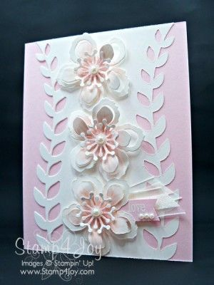Homemade Wedding Cards - blog.Stamp4Joy.com  ... soft pink and white ... dimensional layered die cut flowers ... delightful! ...