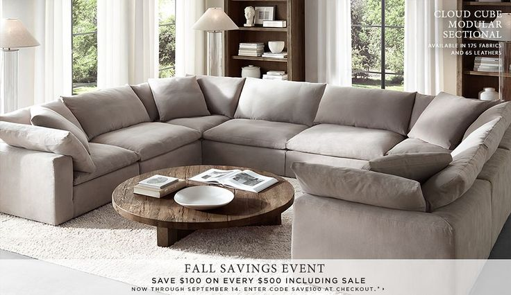 Restoration Hardware Homepage. Not usually a fan of sectionals but I do like this full U-shaped sofa.