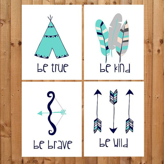Tribal themed wall decor prints on Bamboo paper!. In Teal, navy blue and grey colors. Available in multiple sizes and custom colors too!