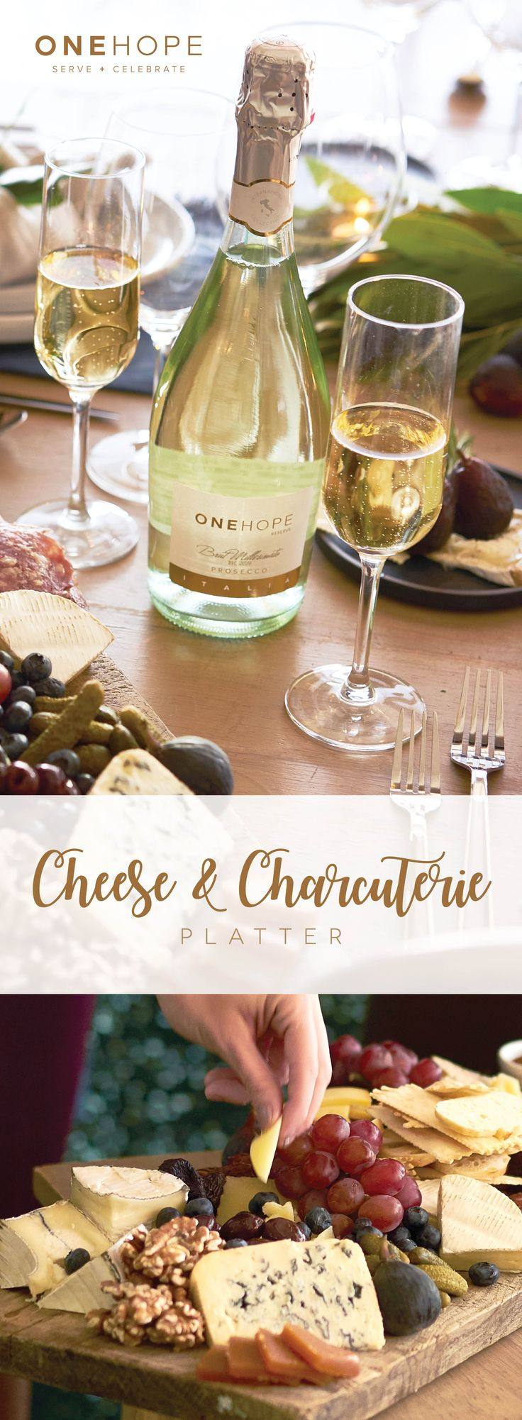 Who doesn't love a good cheese and charcuterie platter? We created one that's perfect for the holidays. Pair this dish with our Italian Prosecco, which has tasting notes of fresh pear and hints of green apple and creates pleasing aromas that persist into the finish.
