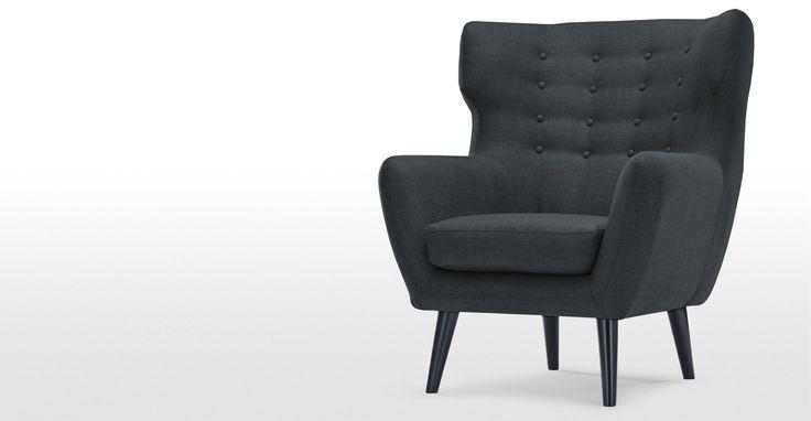 Kubrick fauteuil met gevleugelde rugleuning, antracietgrijs