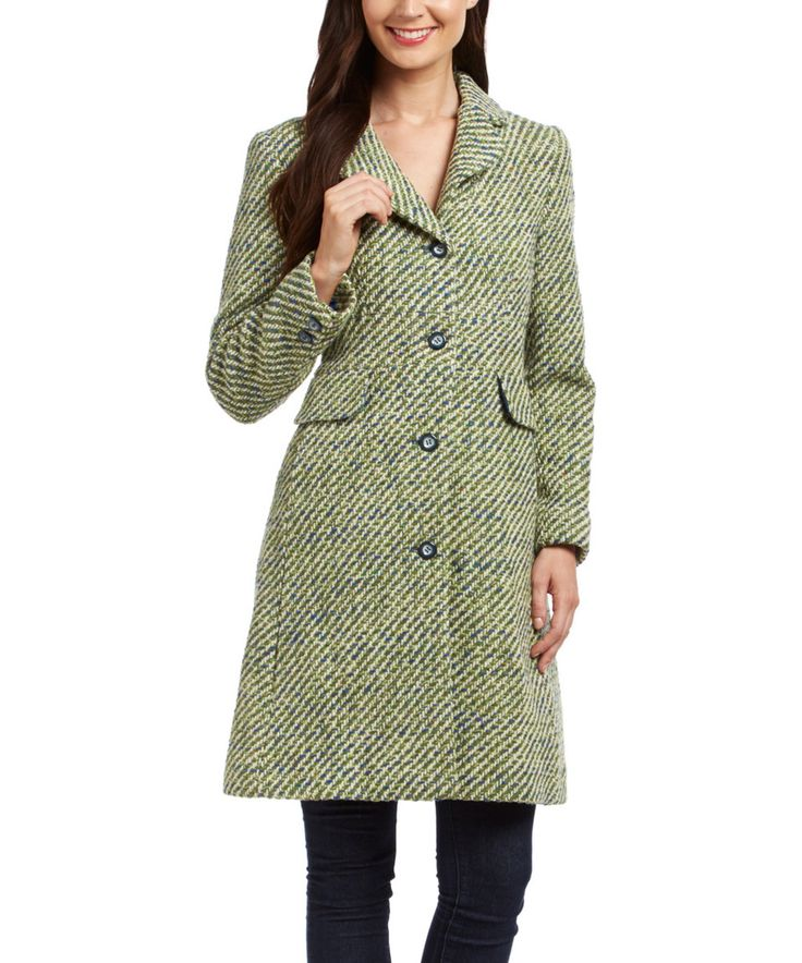 This Fleet Street Green Wool-Blend Coat by Fleet Street is perfect! #zulilyfinds
