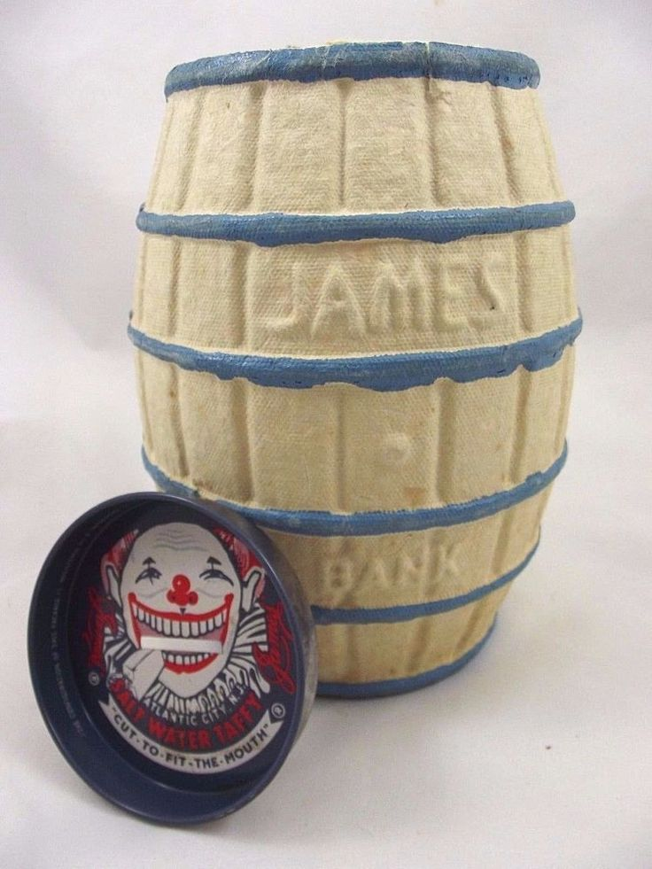 Vintage Scary Clown Face James Salt Water Taffy Barrel Coin Bank Atlantic City #James