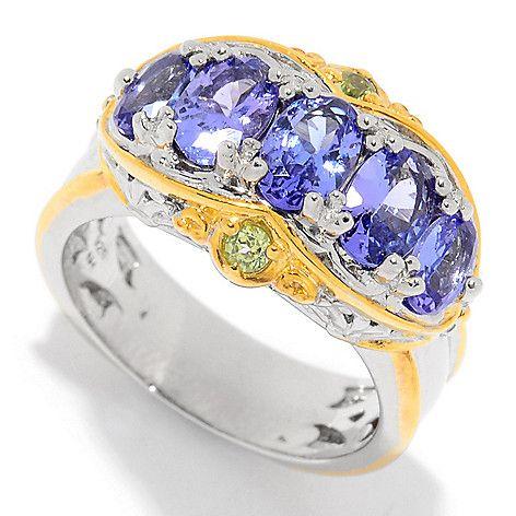 161-004 - Gems en Vogue 1.87ctw Tanzanite & Peridot High-Set Band Ring