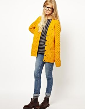 Mustard Yellow Fred Perry British Knitting Aran Cardigan