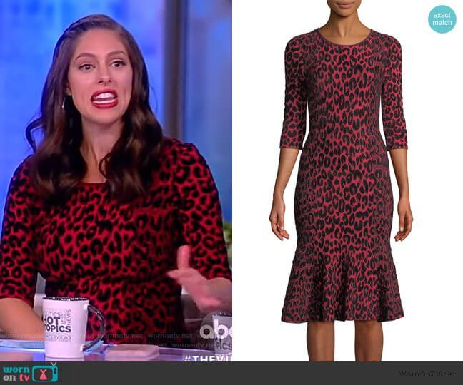 eb9fef4693 Textured Leopard Animal-Print Mermaid Midi Dress by Milly worn by Abby  Huntsman on The