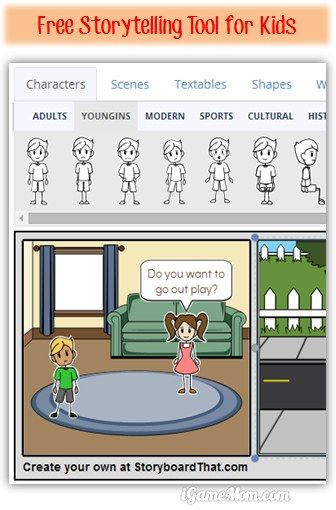 Free storytelling tool for kids - pick the images, drop them on the storyboard, add text bubbles, change colors of various of elements in the pictures... Many editing tools to make it fun!