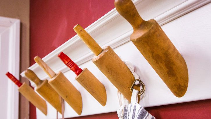 Use old rolling pins to create a ridiculously cute Rolling Pin Rack! Made on #homeandfamily by @kennethwingard!