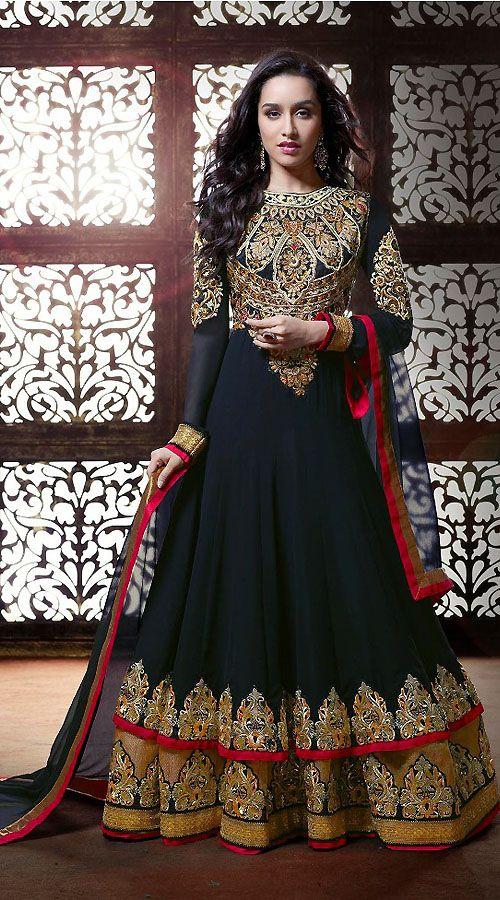 Shraddha Kapoor Black Georgette Bollywood Salwar Kameez BR113660