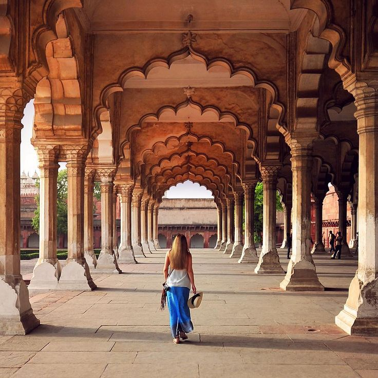 From our trip to India: exploring the Diwan-i-Am, or Hall of Audience, at the Agra Fort. Photo by @travelplusstyle http://www.travelplusstyle.com  The Agra Fort is actually a whole walled city, located some 2.5 km northwest of its famous sister monument, the Taj Mahal. The fort is a UNESCO World Heritage site.