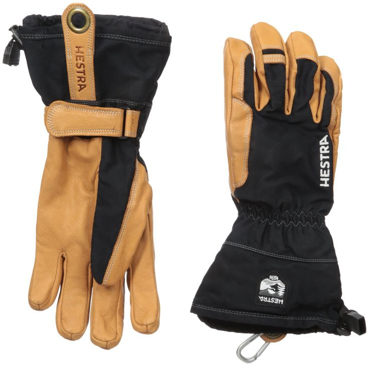 Hestra Narvik Wool Terry Gloves, Black, Size 11. Environmentally friendly leather that it tanned from natural tannins such as tree bark. Removable wool terry/pile lining. Hestra handcuffs to secure Gloves to wrist. Snow lock strap with Velcro closure to trap in heat and keep out snow. Hestra carabiner.