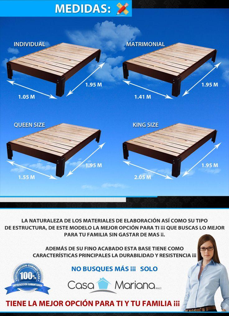 Las 25 mejores ideas sobre medida cama king en pinterest for Cuanto mide una cama queen size