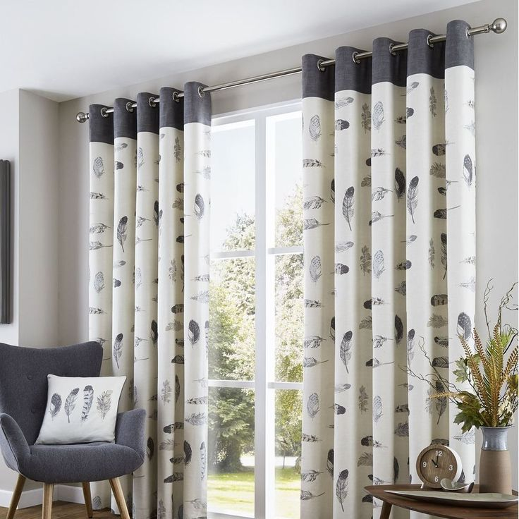 Diana Lined Eyelet Curtains Grey Charoal Cream Feathers Ready Made Pair Ring Top