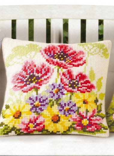 Wild Flower Cushion Cover Cross Stitch Pillow by loiseaufabrics