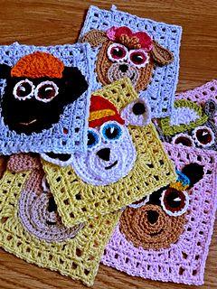 Free Crochet Pattern - Paw patrol granny squares pattern by passionatecraft2
