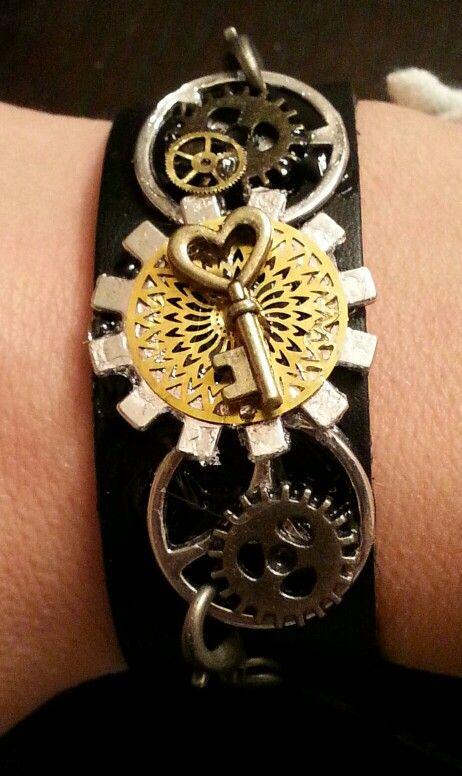 Black leather gear bracelet