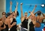 Australian women's 4 x 100m Freestyle Relay team celebrate victory #London2012