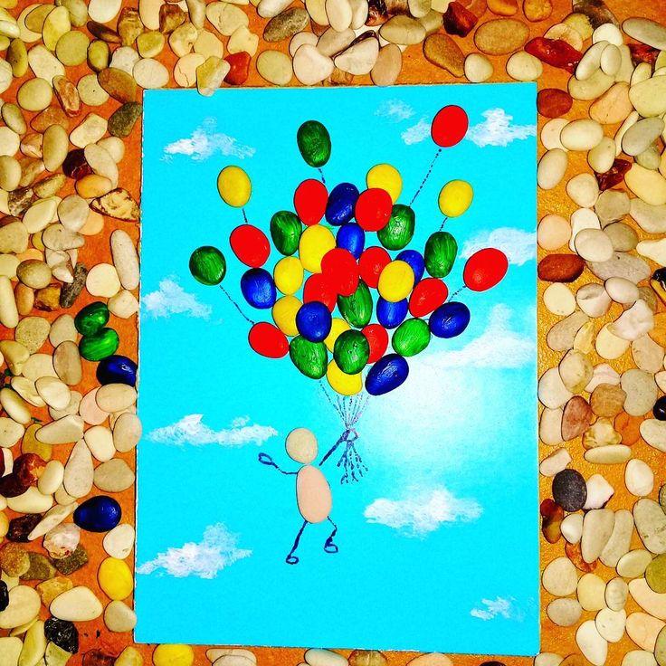 "9 Likes, 1 Comments - Rafa Pebble Art (@himawan_hijirosan) on Instagram: ""Pebble art : Where the skies are blue... #pebbles #pebblebeach #art #artwork #handmade #decoration…"""