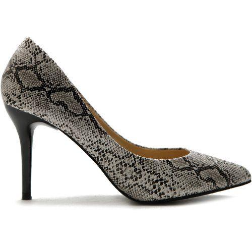 #sale Ollio Women's Shoe D'Orsay Snakeskin Pointed Toe High Heel Multi Color Pump (6.5 B(M) US, Cream)
