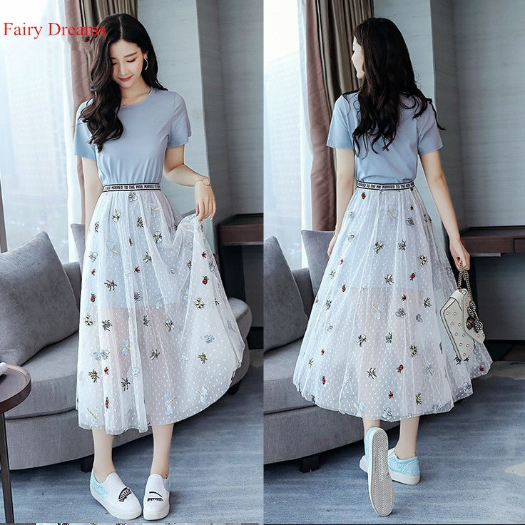Fairy Dreams 2 Piece Set For Women Blue T Shirt Top And Mesh Skirt 2017 New Style Hot Sale Summer Suit Fashion Casual Clothes #Affiliate