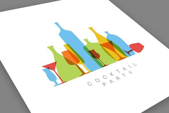 Minimalist Cocktail Party Invitation template by Orson on creative market, graphic design resources, print ready