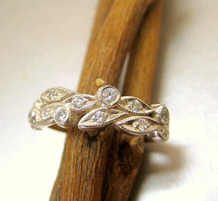 leaf engagement ring wedding ring 14k white gold leaves with diamonds 65000 - Leaf Wedding Ring