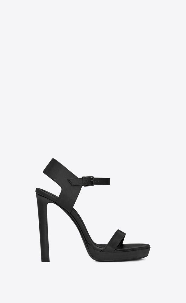 c953ba53ed SAINT LAURENT Sandals Woman Hall 105 sandal in black leather a_V4 ...