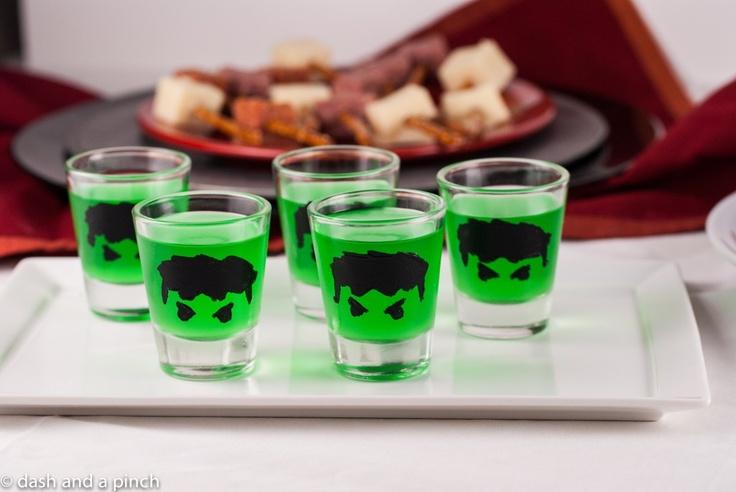 Hulk, shots, jello shots, alcohol, drinks, glasses, theme, avengers, Marvel, party, food, easy, fun, Captain America, Thor, Loki, Bruce Banner, Iron Man, Tony Stark, Radiation, Hulk Smash,