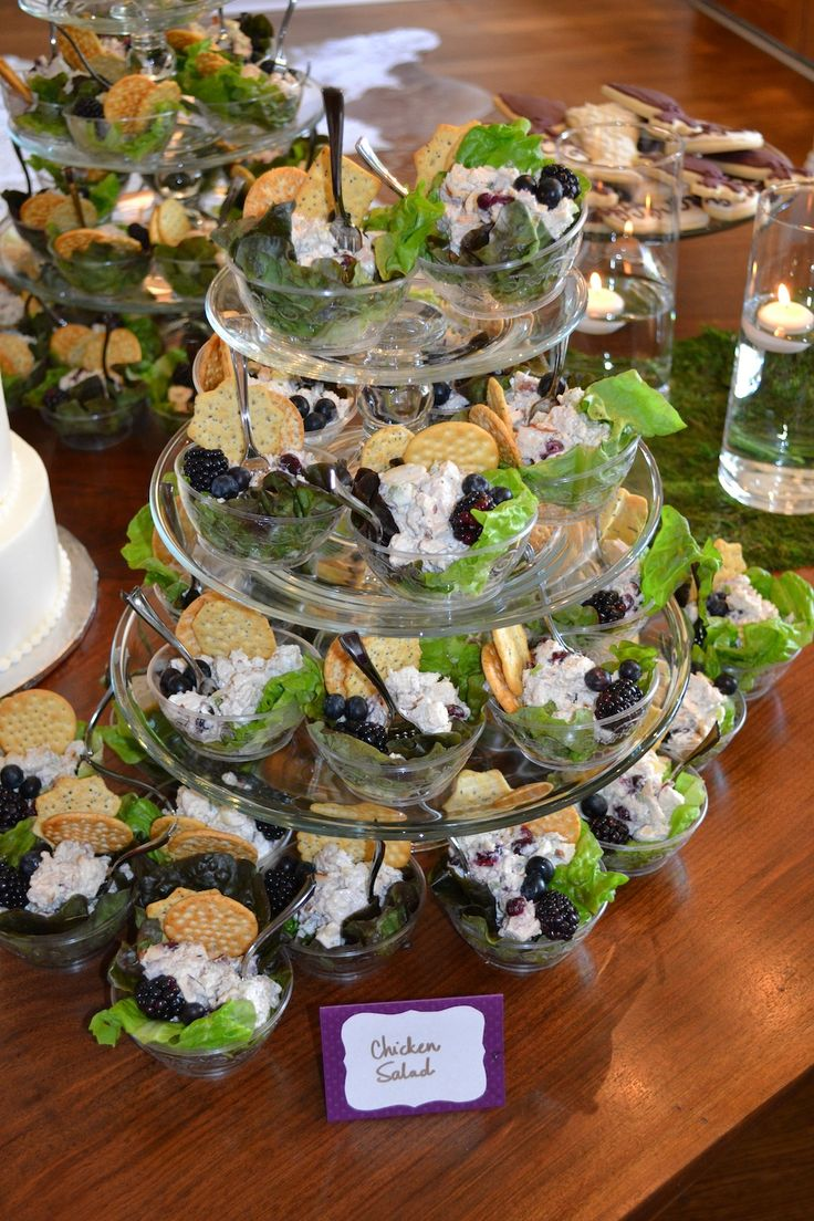 Individual Chicken Salad cups are just the way to go for a party. Great idea.