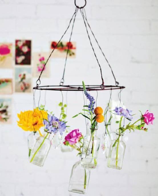 Easy DIY bottle chandelier with fresh or paper flowers | Sweet Paul Magazine #17 - Summer Issue 2014